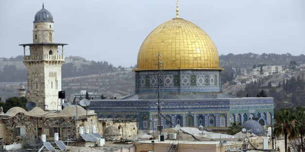 JERUSALEM - DECEMBER 06: A view of Qubbat al-Sakhrah (Dome of the Rock) at Al Aqsa Mosque Compound is seen in Jerusalem on December 06, 2017. Sacred to Muslims, Jews, and Christians; Jerusalem city is home to the Al-Aqsa Mosque and Dome of the Rock. For Muslims, Al-Aqsa represents the world's third holiest site, after the holy cities of Mecca and Medina in Saudi Arabia. Jerusalem, which has the religious significance for 3 monotheistic religions, hosts people from many different countries. U.S.