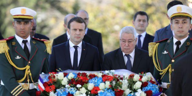 Emmanuel Macron aux côtés d'Abdelkader Bensalah à Alger, le 6 décembre 2017