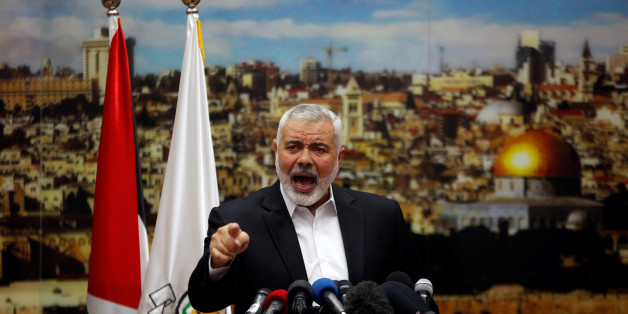 Hamas Chief Ismail Haniyeh gestures as he delivers a speech over U.S. President Donald Trump's decision to recognize Jerusalem as the capital of Israel, in Gaza City December 7, 2017. REUTERS/Mohammed Salem