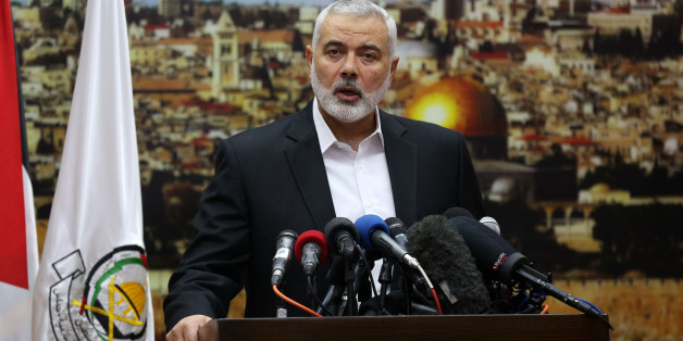 "Hamas leader Ismail Haniya gestures as he delivers a speech over US President Donald Trump's decision to recognise Jerusalem as the capital of Israel, in Gaza City on December 7, 2017. Haniya called for a new Palestinian intifada, or uprising. This Zionist policy supported by the US cannot be confronted unless we ignite a new intifada,"" the head of the armed Palestinian Islamist movement that runs the Gaza Strip said in a speech.  (Photo by Majdi Fathi/NurPhoto via Getty Images)"