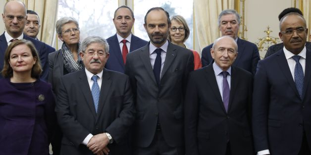 French Prime Minister Edouard Philippe (C) and his Algerian counterpart Ahmed Ouyahia (2ndL) pose for a picture during the 4th Intergovernmental Committee between France and Algeria at the Hotel Matignon in Paris on December 7, 2017.  / AFP PHOTO / POOL / Patrick KOVARIK        (Photo credit should read PATRICK KOVARIK/AFP/Getty Images)