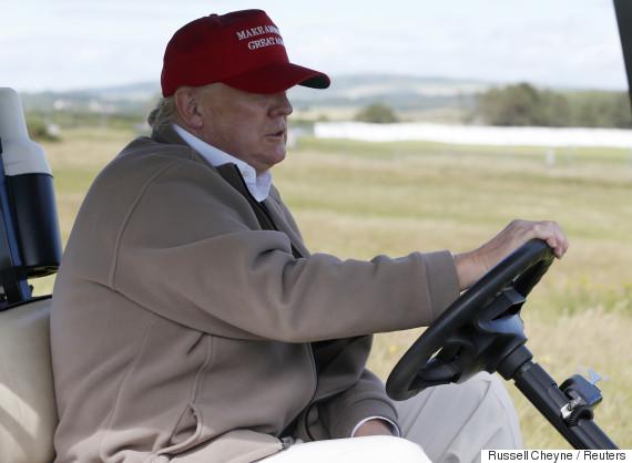 donald trump golf cart