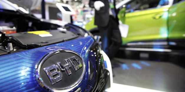 The logo of BYD is seen on a car presented at the Auto China 2016 auto show in Beijing, China, April 29, 2016.  REUTERS/Damir Sagolj