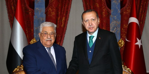 ISTANBUL, TURKEY - DECEMBER 12: Turkey's President Recep Tayyip Erdogan (R) meets Palestinian President Mahmoud Abbas (L) at the Beylerbeyi Palace on December 12, 2017 in Istanbul, Turkey. (Photo by Kayhan Ozer/Anadolu Agency/Getty Images)