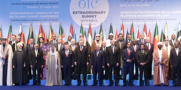 Leaders and representatives of member states pose for a group photo during an Extraordinary Summit of the Organisation of Islamic Cooperation (OIC) on last week's US recognition of Jerusalem as Israel's capital, on December 13, 2017 in Istanbul.  / AFP PHOTO / YASIN AKGUL        (Photo credit should read YASIN AKGUL/AFP/Getty Images)