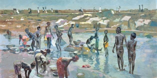 """""""Femmes et enfants au bord du fleuve, Abidjan - 1952"""", Jacques Majorelle."""