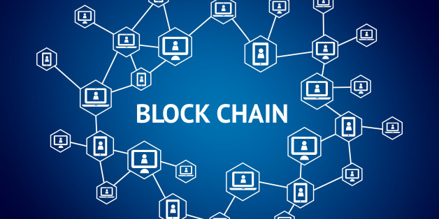 Blockchain network concept , Distributed ledger technology , Block chain text and computer connection with blue background