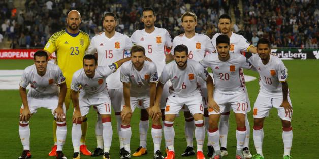 L'équipe espagnole de football lors d'un match de qualification à la Coupe du monde 2018 contre Israël, 9 octobre 2017.
