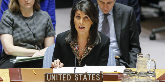 US Ambassador to the UN Nikki Haley speaks during a UN Security Council meeting over the situation in the Middle East on December 18, 2017, at UN Headquarters in New York. The UN Security Council is to vote on a draft resolution rejecting US President Donald Trump's recognition of Jerusalem as the capital of Israel. / AFP PHOTO / KENA BETANCUR        (Photo credit should read KENA BETANCUR/AFP/Getty Images)