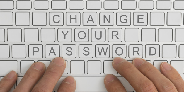 Top down view of keyboard with the words change your password