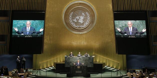 Prime Minister Benjamin Netanyahu of Israel addresses the United Nations General Assembly in the Manhattan borough of New York, U.S., September 22, 2016.  REUTERS/Mike Segar