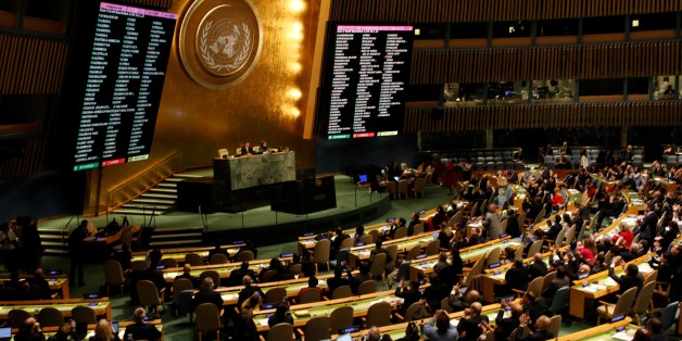 NEW YORK, USA - DECEMBER 21: The voting results are displayed on a screen during the emergency special session over Jerusalem held by UN General Assembly in New York, United States on December 21, 2017. Members has voted 128-9 to declare the United States' recognition of Jerusalem as Israel's capital null and void. (Photo by Atilgan Ozdil/Anadolu Agency/Getty Images)