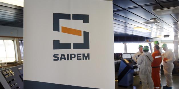 A Saipem logo in seen on the bridge of the Saipem 10000 deepwater drillship in Genoa's harbour, Italy, November 19, 2015. Picture taken November 19, 2015. REUTERS/Alessandro Garofalo