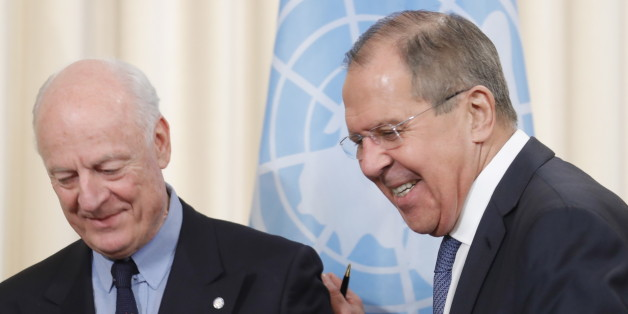 MOSCOW, RUSSIA  DECEMBER 21, 2017: United Nations Special Envoy for Syria Staffan de Mistura (L) and Russian Foreign Minsiter Sergei Lavrov give a joint news conference following talks to discuss the Syrian peace process. Mikhail Japaridze/TASS (Photo by Mikhail Japaridze\TASS via Getty Images)