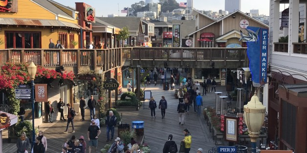 Coit tower & Transamerica Pyramid are seen from Pier 39 at San Francisco Fisherman Wharf on October 18, 2017. / AFP PHOTO / Daniel SLIM        (Photo credit should read DANIEL SLIM/AFP/Getty Images)