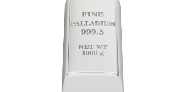 palladium ingot, 3D rendering isolated on white background