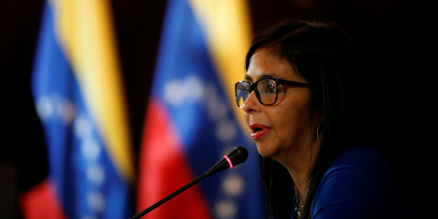 Delcy Rodriguez, President of the National Constituent Assembly talks to the media during a news conference in Caracas, Venezuela August 28, 2017. REUTERS/Carlos Garcia Rawlins