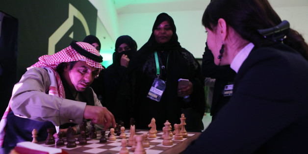 RIYADH, SAUDI ARABIA- DECEMBER 25: Attendees play chess for fun as they attend at the King Salman Rapid & Blitz Chess Championships opening in Riyadh, Saudi Arabia, December 25, 2017. The Championship is taking place in Saudi Arabia for the first time with participation of 236 players from 70 countries. (Photo by Salah Malkawi/ Getty Images)
