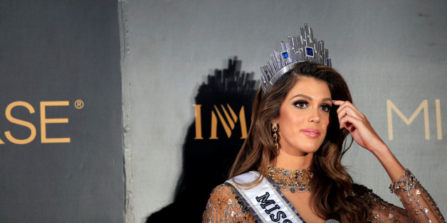 Newly-crowned Miss Universe Iris Mittenaere from France gestures during a news conference inside a Mall of Asia arena in metro Manila, Philippines January 30, 2017. REUTERS/Romeo Ranoco