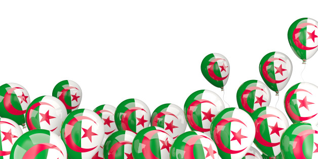 Flying balloons with flag of algeria isolated on white