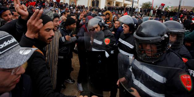 Protestations à Jerada après le décès de deux mineurs le 22 décembre. REUTERS/Youssef Boudlal