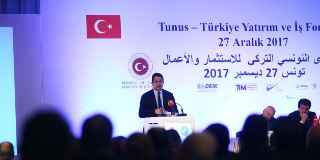 TUNIS, TUNISIA - DECEMBER 27: Tunisian Minister of Development and International Cooperation Ziad Al-Azari delivers a speech during Turkey-Tunisia Economy and Investment Forum in Tunis, Tunisia on December 27, 2017. (Photo by Yassine Gaidi/Anadolu Agency/Getty Images)