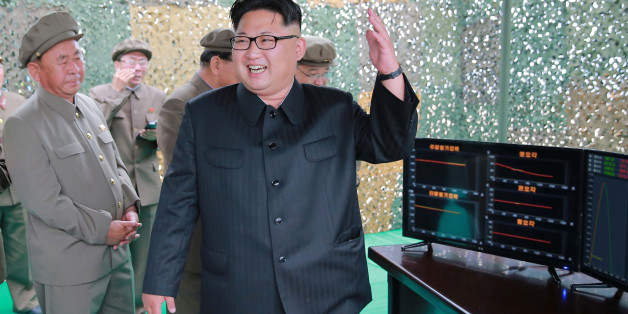North Korean leader Kim Jong Un reacts during a test launch of ground-to-ground medium long-range ballistic rocket Hwasong-10 in this undated photo released by North Korea's Korean Central News Agency (KCNA) on June 23, 2016.  REUTERS/KCNA          ATTENTION EDITORS - THIS PICTURE WAS PROVIDED BY A THIRD PARTY. REUTERS IS UNABLE TO INDEPENDENTLY VERIFY THE AUTHENTICITY, CONTENT, LOCATION OR DATE OF THIS IMAGE. FOR EDITORIAL USE ONLY. NOT FOR SALE FOR MARKETING OR ADVERTISING CAMPAIGNS. NO THIRD PARTY SALES. NOT FOR USE BY REUTERS THIRD PARTY DISTRIBUTORS. SOUTH KOREA OUT. NO COMMERCIAL OR EDITORIAL SALES IN SOUTH KOREA. THIS PICTURE IS DISTRIBUTED EXACTLY AS RECEIVED BY REUTERS, AS A SERVICE TO CLIENTS.