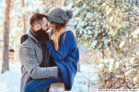 couple winter happy kiss