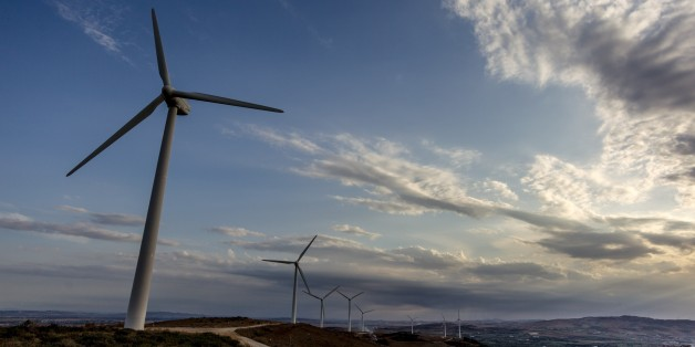 BIZERTE, TUNISIA - SEPTEMBER 18: Wind turbines are seen at El Alia town of Bizerte, Tunisia on September 18, 2016. The wind power plant, put into service on 2012, is operated by Tunisian Company of Electricity and Gas. 37 wind turbines product 150 gigawatt electric power per year.  (Photo by Amine Landoulsi/Anadolu Agency/Getty Images)