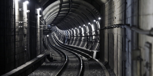 Winding subway tunnel in Tokyo