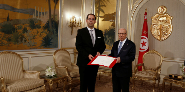 President Beji Caid Essebsi (R) meets with Prime Minister-designate Youssef Chahed in Tunis,Tunisia  August 3, 2016. REUTERS/Zoubeir Souissi