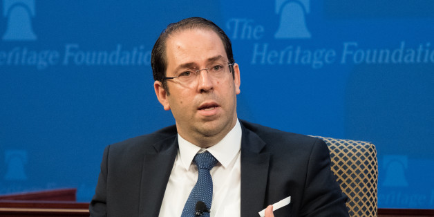 WASHINGTON, DC, UNITED STATES - 2017/07/11: Youssef Chahed, Chief of the Government of Tunisia speaks at the Heritage Foundation in Washington, DC. (Photo by Michael Brochstein/SOPA Images/LightRocket via Getty Images)