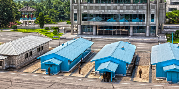 A view of the JSA in HDR.Only the concrete line in between the blue huts separate South and North Korea.
