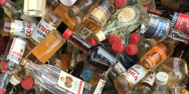 Siracusa, Italy - April 9th 2017: Flea Market. A bunch of liquor little bottles of several brands, on sale.