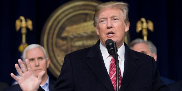 US President Donald Trump speaks during a retreat with Republican lawmakers at Camp David in Thurmont, Maryland, January 6, 2018. / AFP PHOTO / SAUL LOEB        (Photo credit should read SAUL LOEB/AFP/Getty Images)