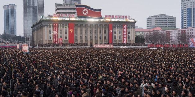 A general view shows a mass demonstration in support of a new year address made by North Korean leader Kim Jong-Un at Kim Il-Sung square in Pyongyang on January 4, 2018. / AFP PHOTO / KIM Won-Jin        (Photo credit should read KIM WON-JIN/AFP/Getty Images)