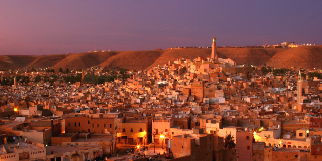 Ghardaia after sunset, the largest of the Mozabite villages in the M'Zab valley.