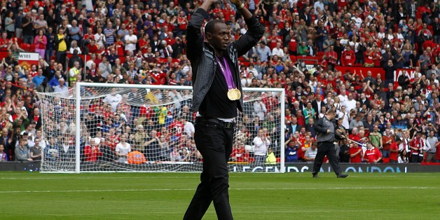 Usain Bolt on the pitch before kick-off   (Photo by Dave Thompson/PA Images via Getty Images)