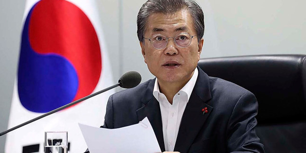SEOUL, SOUTH KOREA - NOVEMBER 29:  In this handout photo released by the South Korean Presidential Blue House, South Korean President Moon Jae-in speaks as he presides over a meeting of the National Security Council at the presidential Blue House on November 29, 2017 in Seoul, South Korea. In spite of US President Trump's warnings, North Korea fired an intercontinental ballistic missile early today for the first time in four months. The Pentagon has said that the missile had flown for about 1,00
