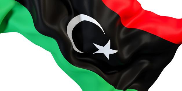 Closeup of waving flag of libya. 3D illustration