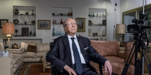In December 22nd, 2014: a few hours after the announcement of the preliminary results giving a wide victory, with 11 points beforehand, to the candidate for the presidential election B��ji Caid Essebsi receives in its home the Tunisian national television channel for its first speech to the Tunisian people. EXCLU (Photo by Nicolas Fauqu��/Corbis via Getty Images)