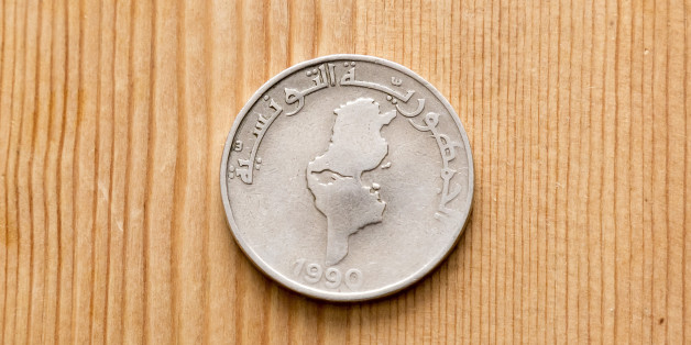 Tunisian currency, Tunisian dinars on wooden table background