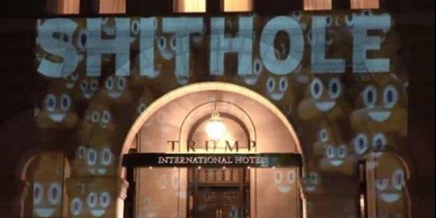 """""""Shithole"""" projeté sur la façade de l'hôtel de Trump à Washington"""