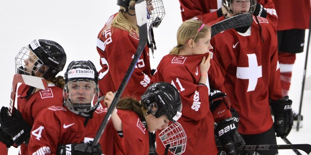 Swiss players reacts after the 2015 IIHF Ice Hockey Women's World Championship Quarter Final match between Finland and Switzerland at Malmo Isstadion in Malmo, Sweden, on April 1, 2015. AFP PHOTO / TT NEWS AGENCY / CLAUDIO BRESCIANI +++ SWEDEN OUT        (Photo credit should read Claudio Bresciani/AFP/Getty Images)