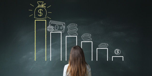 Business woman standing in front of a blackboard with a financial chart