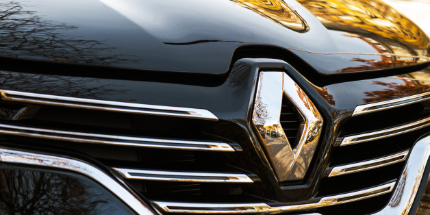 Paris, France - October 30, 2015: Renault Initiale logo on a luxury sedan RENAULT ESPACE INITIALE PARIS. The Initiale logo is the flagship model and the most luxury one from Renault