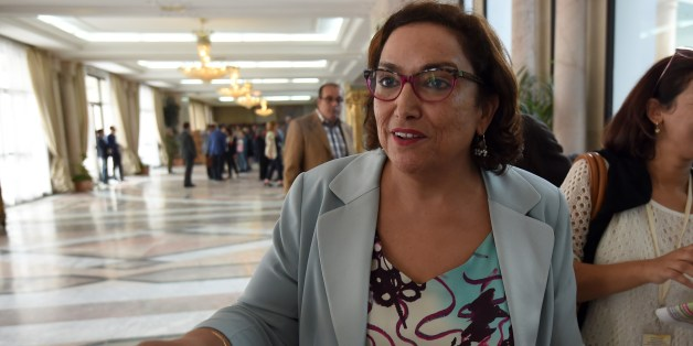 Member of Tunisia's secular Nidaa Tounes party, Bochra Belhaj Hmida, talks to journalists after she announced its withdrawal from the party, on November 4, 2015 at the National Assembly in Tunis. Rival ambitions, insults and accusations of violence have brought Tunisia's ruling party to the brink of collapse as the country struggles to lead the way towards a post-Arab Spring democracy. AFP PHOTO / FETHI BELAID        (Photo credit should read FETHI BELAID/AFP/Getty Images)