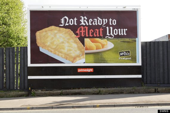 peta s coffin shaped pasty advert vandalised to show pie and chips