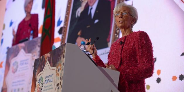 International Monetary Fund (IMF) Managing Director Christine Lagarde speaks during the IMF economic conference in Marrakesh on January 30, 2018. / AFP PHOTO / STR        (Photo credit should read STR/AFP/Getty Images)