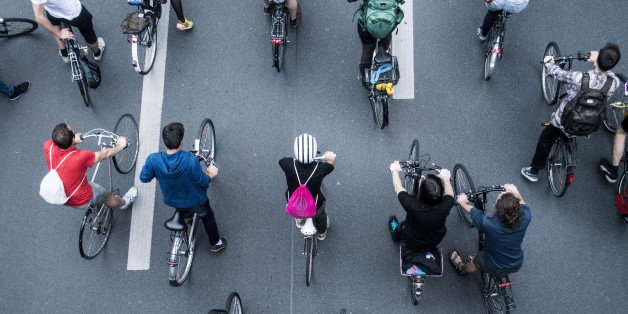Thousands of cyclist were riding in a massive swarm through the streets of Berlin as part of a Critical Mass event, on July 28, 2017. Critical Mass is a cycling event usually taking place on the last Friday of every month. Its purpose is  the direct action of mass meeting at a specific location and time and traveling as a group through city or town streets on bikes.(Photo by Omer Messinger/NurPhoto via Getty Images)